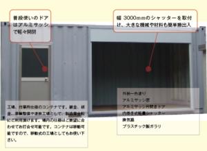 各種工場スペース コンテナ